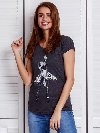 Ciemnoszary t-shirt z baletnicą