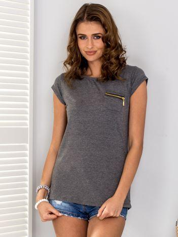 Ciemnoszary t-shirt z suwakiem