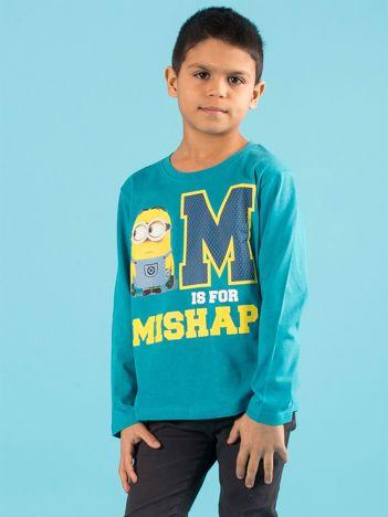 Ciemnoturkusowa bluzka dziecięca z nadrukiem MINIONKI