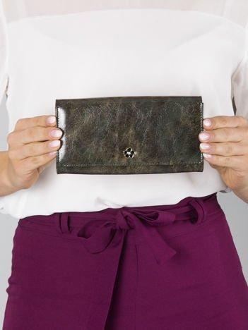 Ciemnozielony duży portfel skórzany