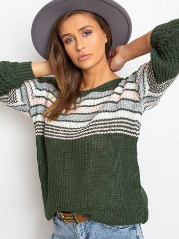 Ciemnozielony sweter Attitiude