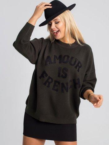 Ciemnozielony sweter plus size Amour