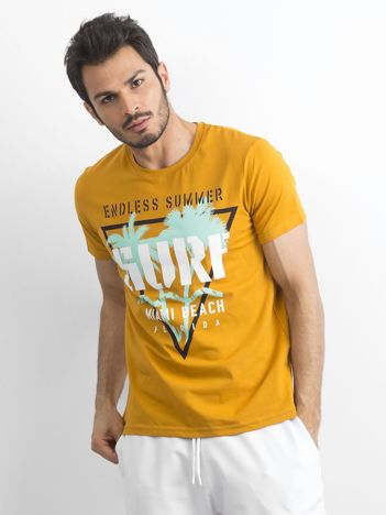 Ciemnożółta bawełniana koszulka męska z nadrukiem