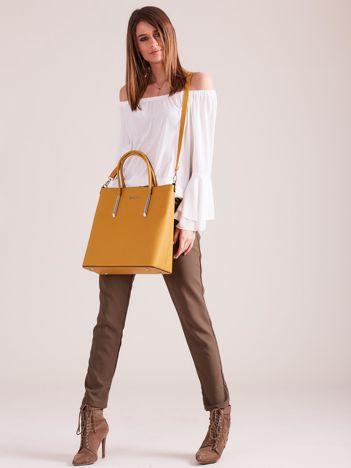 Ciemnożółta elegancka torba z odpinanym paskiem