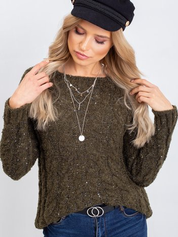 Ciemny khaki sweter Sophia