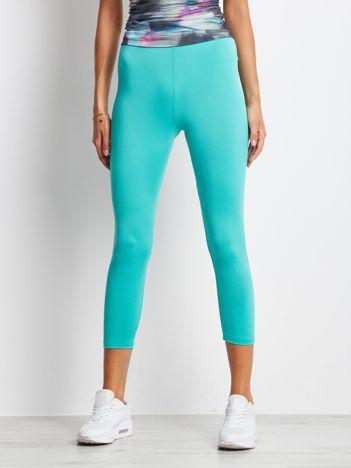 Cienkie legginsy do biegania o długości 3/4 zielone