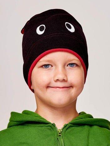 Czapka chłopięca z oczami i uszami czarno-bordowa