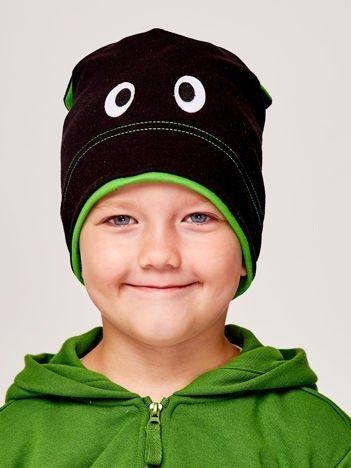Czapka chłopięca z oczami i uszami czarno-zielona