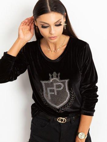 Czarna aksamitna bluza z herbem z dżetów