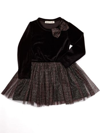 Czarna aksamitna sukienka dla dziewczynki