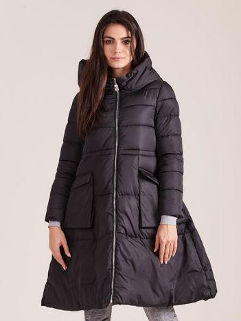 Czarna asymetryczna kurtka zimowa