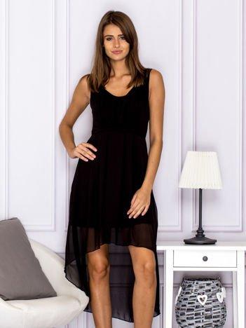Czarna asymetryczna sukienka maxi