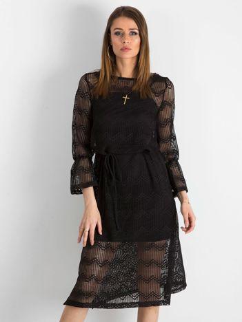 Czarna ażurowa sukienka damska