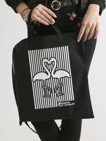 Czarna bawełniana torba z nadrukiem flaminów