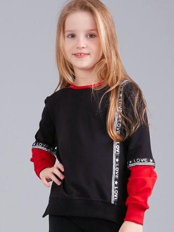 Czarna bluza dziewczęca z aplikacją i napisami