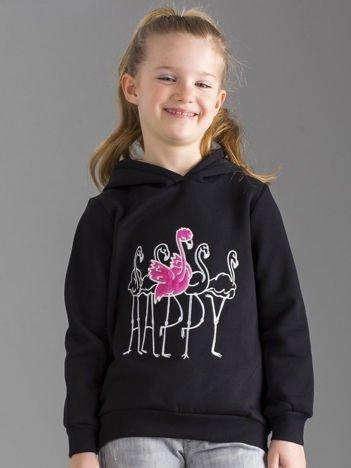 Czarna bluza dziewczęca z futrzanym kapturem
