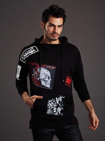 Czarna bluza męska z czaszką i naszywkami