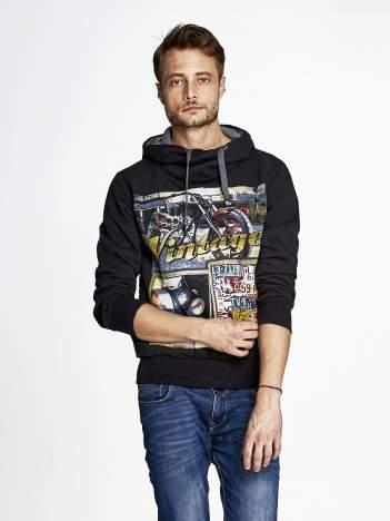 Czarna bluza męska z kapturem motyw motocyklowy