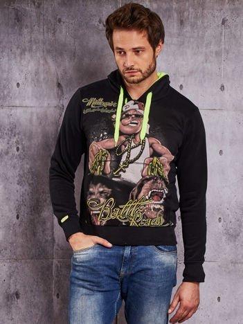 Czarna bluza męska z raperskim nadrukiem