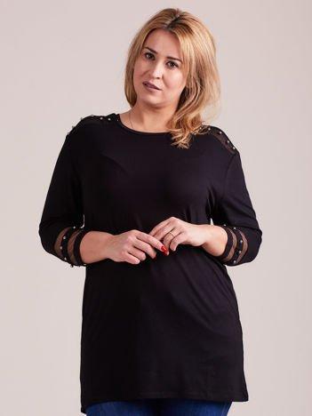 Czarna bluzka damska z aplikacją PLUS SIZE