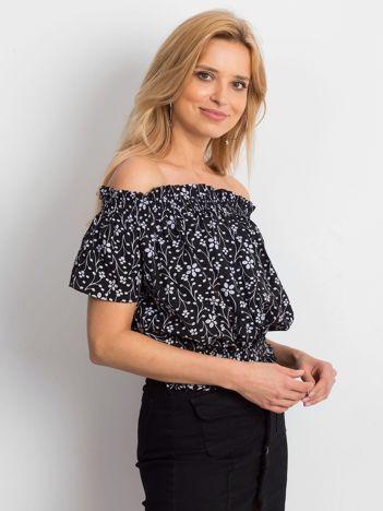 Czarna bluzka hiszpanka z kwiatowym printem