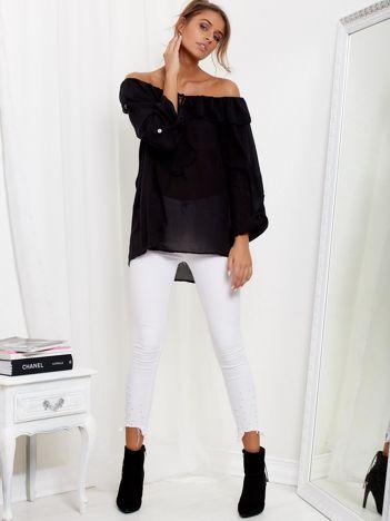 Czarna bluzka hiszpanka z wiązaniem i dłuższym tyłem