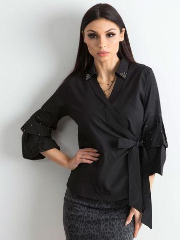 Czarna bluzka koszulowa z wiązaniem