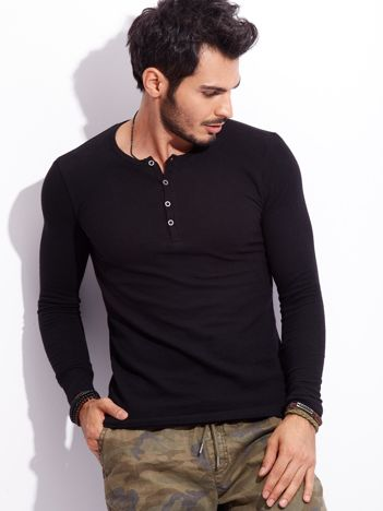 Czarna bluzka męska basic z guzikami