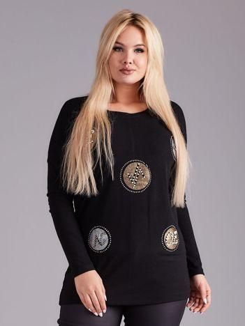 Czarna bluzka z aplikacją i perełkami PLUS SIZE