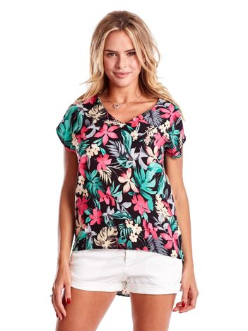 Czarna bluzka z kolorowym kwiatowym nadrukiem