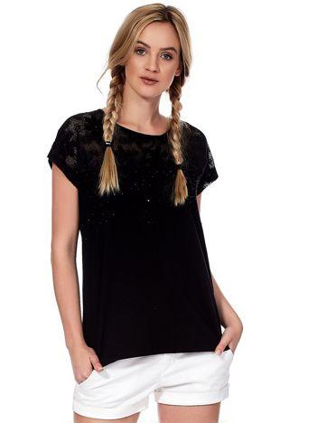 Czarna bluzka z koronkową górą i dżetami