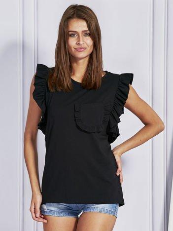 Czarna bluzka z ozdobnymi falbankami