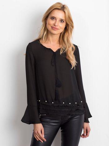 Czarna bluzka z wiązaniem i perełkami