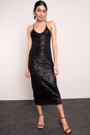 Czarna błyszcząca sukienka BSL