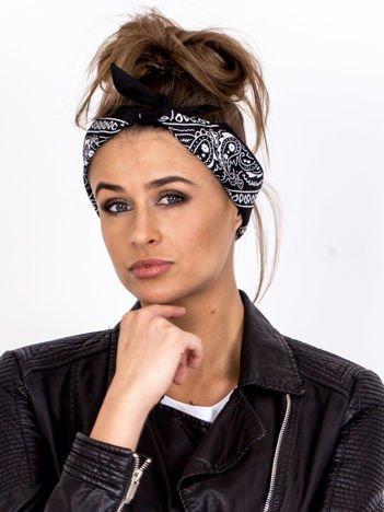 Czarna chustka bandanka na głowę ze wzorem paisley