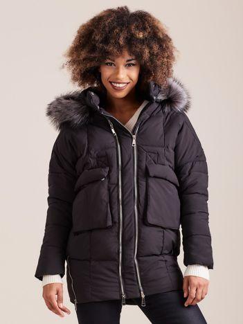 Czarna damska kurtka zimowa