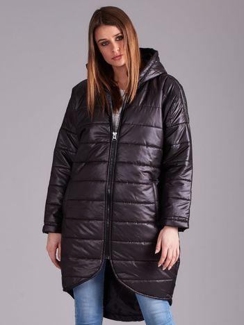 Czarna długa kurtka przejściowa