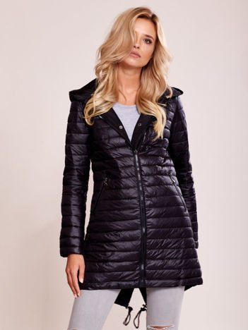 Czarna dwustronna pikowana kurtka parka