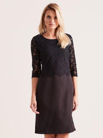 bfae966743 Czarna elegancka sukienka z koronką