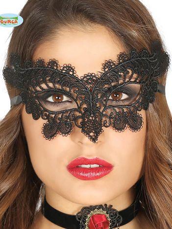 Czarna koronkowa maska