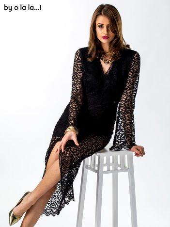 Czarna koronkowa sukienka V-neck BY O LA LA