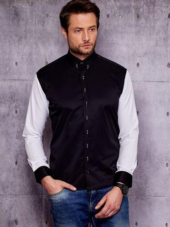 Czarna koszula męska z kontrastowymi rękawami