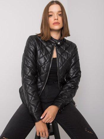 Czarna kurtka pikowana z ekoskóry Yuliana