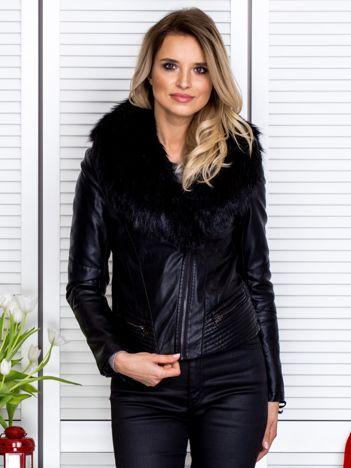 Czarna kurtka z eko skóry z odpinanym futerkiem