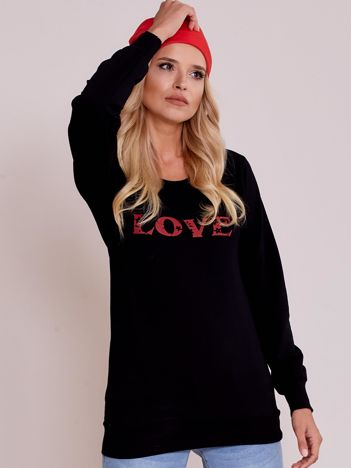 Czarna lekka bluza z napisem LOVE