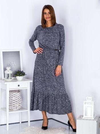 Czarna melanżowa sukienka maxi z falbaną