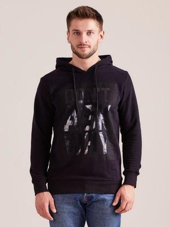 Czarna męska bluza dresowa z kapturem