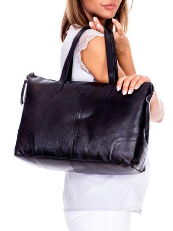 Czarna miejska torba do ręki ze skóry