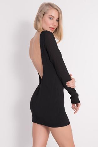Czarna mini sukienka bez pleców BSL