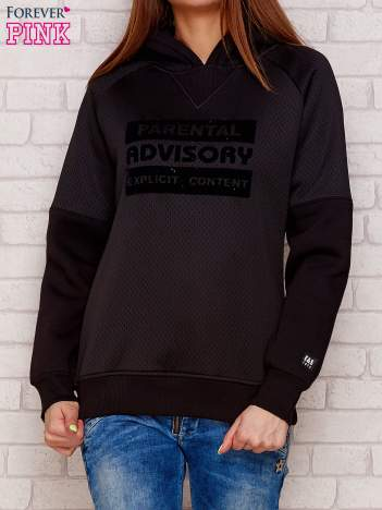 Czarna ocieplana bluza z napisem PARENTAL ADVISORY